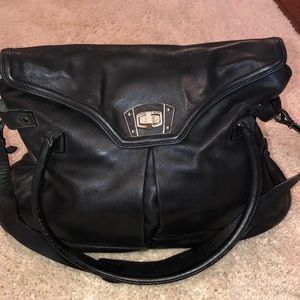 Black leather satchel style purse by Talbots